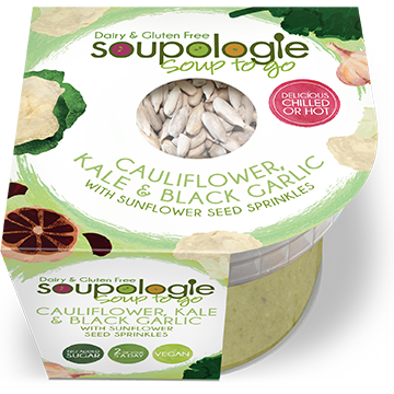 SOUPOLOGIE PRODUCTS SOUP TO GO CAULIFLOWER, KALE & BLACK GARLIC WITH SUNFLOWER SEED SPRINKLES