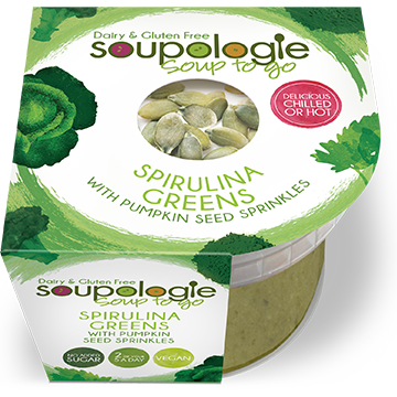 SOUPOLOGIE PRODUCTS SOUP TO GO SPIRULINA GREENS WITH PUMPKIN SEED SPRINKLES